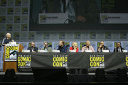 "(L-R) Bill Burr, Vince Gilligan, Peter Gould, Bob Odenkirk, Rhea Seehorn, Patrick Fabian, Michael Mando, and Giancarlo Esposito attend the ""Better Call Saul"" panel with AMC during Comic-Con International 2018 at San Diego Convention Center on July 19, 2018 in San Diego, California."