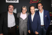 (L) Vince Gilligan, Peter Gould, Bob Odenkirk and Charlie Collier attend AMC's 'Better Call Saul' Premiere during Comic Con 2018 at UA Horton Plaza on July 19, 2018 in San Diego, California.