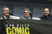 "(L-R) Vince Gilligan, Peter Gould and Bob Odenkirk attend the ""Better Call Saul"" panel with AMC during Comic-Con International 2018 at San Diego Convention Center on July 19, 2018 in San Diego, California."