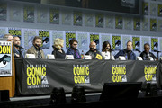 (L-R) Vince Gilligan, Aaron Paul, Bryan Cranston, Anna Gunn, RJ Mitte, Dean Norris, Betsy Brandt, Bob Odenkirk, and Giancarlo Esposito attend the Breaking Bad 10th Anniversary Celebration with AMC during Comic-Con International 2018 at San Diego Convention Center on July 19, 2018 in San Diego, California.