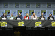 "(L-R) Vince Gilligan, Peter Gould, Bob Odenkirk, Rhea Seehorn, Patrick Fabian, Michael Mando, and Giancarlo Esposito attend the ""Better Call Saul"" panel with AMC during Comic-Con International 2018 at San Diego Convention Center on July 19, 2018 in San Diego, California."