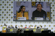 (L-R) Chris Hardwick, Andrew Chambliss, Ian Goldberg, Lennie James, Alycia Debnam-Carey, Danay Garcia, Maggie Grace, Jenna Elfman, Austin Amelio, Alexa Nisenson, Rubén Blades, and Karen David attend the Fear the Walking Dead Panel at Comic Con 2019 on July 19, 2019 in San Diego, California.