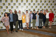 (L-R) Karen David, Ian Goldberg, Lennie James, Michael Satrazemis, Alexa Nisenson, Danay Garcia, Scott Gimple, Andrew Chambliss, Alycia Debnam-Curry, Ruben Blades, Jenna Elfman, Austin Amelio, and Maggie Grace attend the Fear The Walking Dead Press Conference at Comic Con 2019 on July 19, 2019 in San Diego, California.