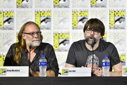 (L-R) Greg Nicotero and Joe Hill speak at the Creepshow Panel at Comic Con 2019 on July 19, 2019 in San Diego, California.