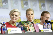 Maggie Grace, Jenna Elfman and Austin Amelio attend the Fear the Walking Dead Panel at Comic Con 2019 on July 19, 2019 in San Diego, California.