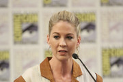 Jenna Elfman speaks at the Fear The Walking Dead Press Conference at Comic Con 2019 on July 19, 2019 in San Diego, California.
