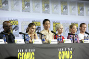(L-R) Lennie James, Alycia Debnam-Carey, Danay Garcia, Maggie Grace, Jenna Elfman, and Austin Amelio attend the Fear the Walking Dead Panel at Comic Con 2019 on July 19, 2019 in San Diego, California.