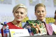 Maggie Grace and Jenna Elfman attend the Fear the Walking Dead Panel at Comic Con 2019 on July 19, 2019 in San Diego, California.
