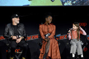 (L-R) Jeffrey Dean Morgan, Danai Gurira, and Cailey Fleming speak onstage during a panel for AMC's The Walking Dead Universe including AMC's flagship series and the untitled new third series within The Walking Dead franchise at Hulu Theater at Madison Square Garden on October 05, 2019 in New York City.