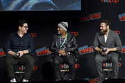 (L-R) Josh McDermitt, Seth Gilliam, and Ross Marquand speak onstage during a panel for AMC's The Walking Dead Universe including AMC's flagship series and the untitled new third series within The Walking Dead franchise at Hulu Theater at Madison Square Garden on October 05, 2019 in New York City.
