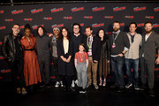 (L-R) Jeffrey Dean Morgan, Danai Gurira, Norman Reedus, Seth Gilliam, Sarah Barnett, Josh McDermitt, Cailey Fleming, Scott Gimple, Angela Kang, Robert Kirkman, Dave Alpert and Ross Marquand attend a panel for AMC's The Walking Dead Universe including AMC's flagship series and the untitled new third series within The Walking Dead franchise at Hulu Theater at Madison Square Garden on October 05, 2019 in New York City.