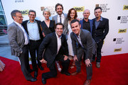 (L-R Top) Executive Producer Mark Johnson, Writer Jonathan Lisco, actors Mackenzie Davis, Lee Pace, Kerry Bishe, Toby Huss and Scoot McNairy (L-R - Bottom) Show Creators  Christopher C. Rogers and Christopher Cantwell attend AMC's new series 'Halt And Catch Fire' Los Angeles Premiere at ArcLight Cinemas on May 21, 2014 in Hollywood, California.