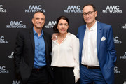 (L-R) Hank Azaria, President of AMC Networks Sarah Barnett and President and CEO of AMC Networks Josh Sapan attend the AMC Networks portion of the Winter 2020 TCA Press Tour on January 16, 2020 in Pasadena, California.