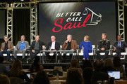 (L-R) Co-creators Peter Gould, Vince Gilligan, actors Bob Odenkirk, Jonathan Banks, Michael McKean, Rhea Seehorn, Patrick Fabian and Giancarlo Esposito attend the AMC presentation of The SON, HUMANS Season 2, Better Call Saul Season 3 on January 14, 2017 in Pasadena, California.