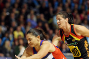 Temepara George of the Mystics competes with Larissa Willcox of the Magic for the ball during the round seven match between the Northern Mystics and the Waikato/Bay of Plenty Magic at the Mystery Creek Events Centre on May 3, 2010 in Hamilton, New Zealand.