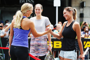 Caroline Wozniacki, Ana Ivanovic and TV presenter Makere Bradnam take part in an exhibition tennis match withon January 3, 2016 in Auckland, New Zealand. The ASB Classic starts on Monday 4, 2016.