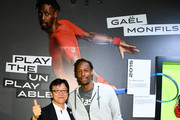 Koichiro Kodama (L) and Gael Monfils attend the ASICS Tennis 5th Avenue Flagship Event on August 23, 2019 in New York City.