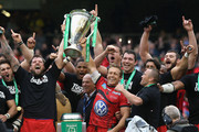 Jonny Wilkinson (R) and Joe van Niekerk of Toulon raise the Heineken Cup after their victory during the Heineken Cup final match between ASM Clermont Auvergne and RC Toulon at the Aviva Stadium on May 18, 2013 in Dublin, Ireland.
