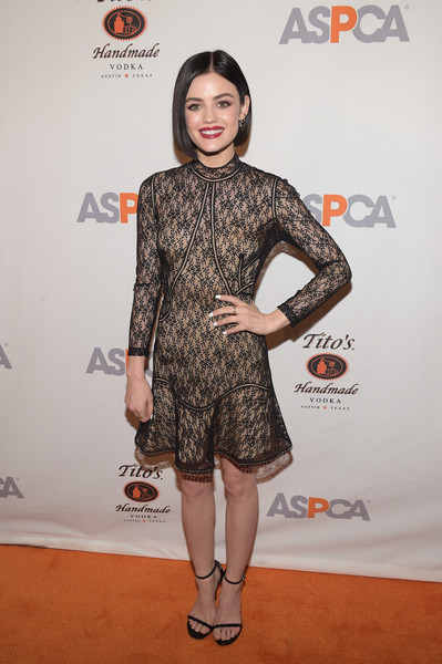 Lucy Hale kept it classic in a little black lace dress by Alexander Wang at the ASPCA After Dark cocktail party.