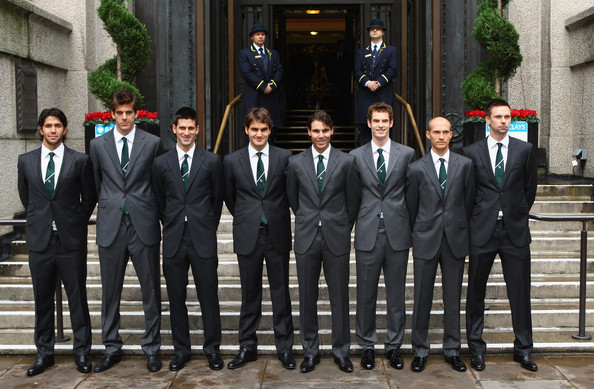 (L-R) Fernando Verdasco of Spain, Juan Martin Del Potro of Argentina, Novak Djokovic of Serbia, Roger Federer of Switzerland, Rafael Nadal of Spain, Andy Murray of Great Britain, Nikolay Davydenko of Russia and Robin Soderling of Sweden line up for a photo during the Barclays ATP World Tour Finals - Media Day at the County Hall Marriot Hotel on November 20, 2009 in London, England.