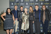 Moderator Jenelle Riley, creator David E. Kelley, Harry Treadaway, Holland Taylor, Kelly Lynch, Brendan Gleeson and director Jack Bender attend a  FYC Screening of Mr. Mercedes at Hollywood Forever on April 15, 2018 in Hollywood, California.