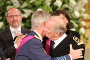 Prince Philippe of Belgium and father King Albert II of Belgium seen at the Abdication Ceremony Of King Albert II Of Belgium, & Inauguration Of King Philippe at the Royal Palace on July 21, 2013 in Brussels, Belgium.