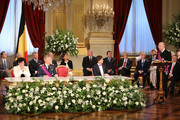 Annemie Turtelboom, Prince Philippe of Belgium and Elio Di Rupo seen during the speach of King Albert II of Belgium at the Abdication Ceremony Of King Albert II Of Belgium, & Inauguration Of King Philippe at the Royal Palace on July 21, 2013 in Brussels, Belgium.
