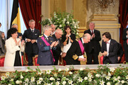 Annemie Turtelboom, Prince Philippe of Belgium, King Albert II of Belgium and Elio Di Rupo seen inside at the Abdication Ceremony Of King Albert II Of Belgium, & Inauguration Of King Philippe at the Royal Palace on July 21, 2013 in Brussels, Belgium.