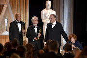 (L-R) Honorees Harry Belafonte, Hayao Miyazaki, Jean-Claude Carriere, and Maureen O'Hara pose onstage during the Academy Of Motion Picture Arts And Sciences' 2014 Governors Awards at The Ray Dolby Ballroom at Hollywood & Highland Center on November 8, 2014 in Hollywood, California.
