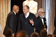 (L-R) Honorees Harry Belafonte, Jean-Claude Carriere, and Hayao Miyazak pose onstage during the Academy Of Motion Picture Arts And Sciences' 2014 Governors Awards at The Ray Dolby Ballroom at Hollywood & Highland Center on November 8, 2014 in Hollywood, California.