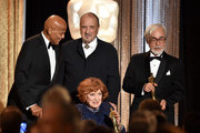 (L-R) Honorees Harry Belafonte, Jean-Claude Carriere, Maureen O'Hara (front) and Hayao Miyazaki pose onstage during the Academy Of Motion Picture Arts And Sciences' 2014 Governors Awards at The Ray Dolby Ballroom at Hollywood & Highland Center on November 8, 2014 in Hollywood, California.