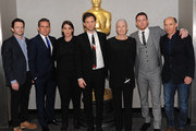 (L-R) Writer Dan Futterman, actor Steve Carell, producer Megan Ellison, director/producer Bennett Miller, actress Vanessa Redgrave, actor Channing Tatum, and producer Jon Kilik attend The Academy of Motion Picture Arts and Sciences hosts an official academy members screening of Foxcatcher at The Academy Theatre at Lighthouse International on November 11, 2014 in New York City.