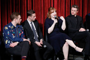 """(L-R) Actors Taron Egerton, Jamie Bell, Bryce Dallas Howard and Richard Madden on stage during The Academy of Motion Picture Arts and Sciences official screening of """"Rocketman"""" at the MoMA, Celeste Bartos Theater on May 29, 2019 in New York City."""