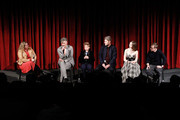 (L-R) Moderator Kate Erbland, writer, director, producer Taika Waititi, actor Roman Griffin Davis, producer Carthew Neal, actress Thomasin McKenzie and actor Sam Rockwell on stage during The Academy of Motion Pictures Arts and Sciences official Academy screening of JoJo Rabbit at the MoMA Celeste Bartos Theater on October 17, 2019 in New York City.
