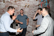 (L-R) Dallas Clark, Steven Matz, Jacob deGrom and David Wright attend Private Dinner Honoring David Wright at TAO Downtown on September 30, 2018 in New York City.