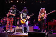 (L-R) Tash Neal, Slash and Tal Wilkenfeld perform at 'Across The Great Divide' benefit concert presented by UpperWest Music Group at Ace Theatre Downtown LA on October 19, 2018 in Los Angeles, California.