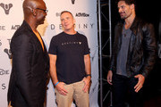 (L-R)  Lance Reddick, voice of Commander Zavala in Destiny, COO of Bungie Pete Parsons, and actor Joe Manganiello in Destiny, attend the game's launch in Seattle, Washington, on September 8, 2014.