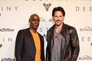 Actors Joe Manganiello (R) and Lance Reddick, voice of Commander Zavala in Destiny, attend the game's launch in Seattle, Washington, on September 8, 2014.