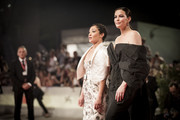 """Ruth Negga and Liv Tyler walk the red carpet ahead of the """"Ad Astra"""" screening during the 76th Venice Film Festival at Sala Grande on August 29, 2019 in Venice, Italy."""