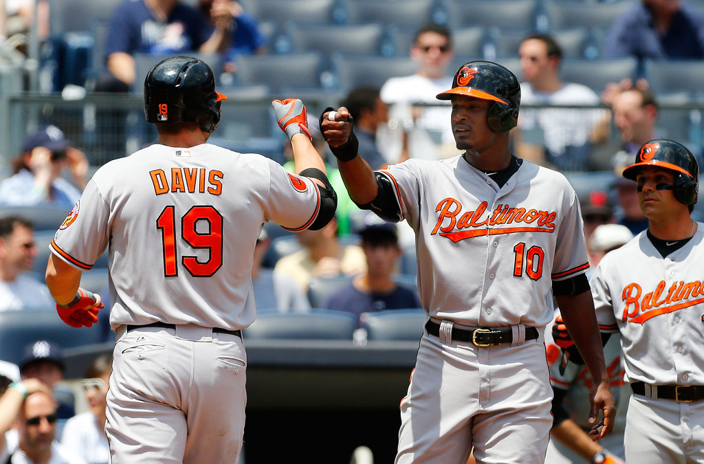 Chris Davis #19 of the Baltimore Orioles celebrates his first inning two run home run against the New York Yankees with teammate Adam Jones #10 at Yankee Stadium on July 6, 2013 in the Bronx borough of New York City.