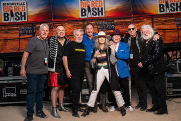 Adam Thompson from Chocolate Starfish Big Red Bash founder Greg Donovan Australians Gather In Outback Queensland For Birdsville Big Red Bash Music Festival
