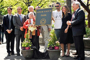 (L-R) Stephen Levin, Adrian Benepe, Noel Yauch, Frances Yauch, John Silva, Adam Horovitz, Rachael Horovitz and Marty Markowitz attend the renaming of Palmetto Playground as Adam Yauch Park on May 3, 2013 in the Brooklyn borough of New York City. Beastie Boy Adam Yauch died of salivary gland cancer on Friday, May 4, 2012 at the age of 47.