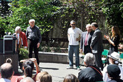 (L-R) Frances Yauch, Noel Yauch, Adam Horovitz, Marty Markowitz, Adrian Benepe and Rachael Horovitz attend the renaming of Palmetto Playground as Adam Yauch Park on May 3, 2013 in the Brooklyn borough of New York City. Beastie Boy Adam Yauch died of salivary gland cancer on Friday, May 4, 2012 at the age of 47.