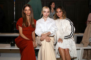Angela Sarafyan, Dove Cameron and Jamie Chung attend the Adeam fashion show during February 2020 - New York Fashion Week: The Shows at The Highline Hotel on February 10, 2020 in New York City.