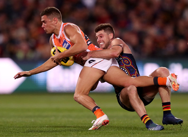 AFL Rd 11 - Adelaide v GWS [sports,team sport,ball game,australian rules football,rugby player,player,touch football american,international rules football,soccer,rugby union,josh kelly,crows,bryce gibbs,adelaide,adelaide oval,gws,afl,adelaide crows,round,match]