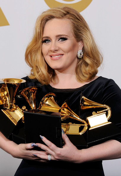 The 54th Annual GRAMMY Awards - Press Room [rolling in the deep,album of the year,best pop vocal album,brass instrument,blond,musical instrument,music artist,horn,adele,grammys,record of the year,best pop solo performance,room,press room,54th annual grammy awards]