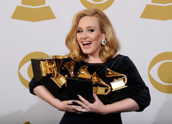 Adele Singer Adele, winner of six GRAMMYs, poses in the press room at the 54th Annual GRAMMY Awards at Staples Center on February 12, 2012 in Los Angeles, California.
