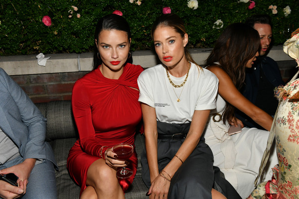 Lily Aldridge Parfums Launch Event [photo,red,fashion,event,lip,party,leg,dress,sitting,leisure,fashion design,adriana lima,doutzen kroes,lily aldridge,the bowery terrace,new york city,bowery hotel,lily aldridge parfums launch event,launch event]