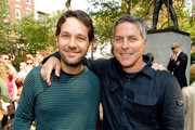 Actor Paul Rudd (L) and Andy Ostroy, widow of Adrienne Shelly and executive director of the Adrienne Shelly Foundation attend the Adrienne Shelly Memorial Garden dedication ceremony at Abingdon Square Park on August 3, 2009 in New York City.
