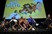Jenny Slate, Jason Mantzoukas, Mark Levin, Jessi Klein, Jennifer Flackett, Nick Kroll, Andrew Goldberg and Andy Richter speak onstage at the Netflix Adult Animation Q&A and Reception on April 20, 2019 in Hollywood, California.